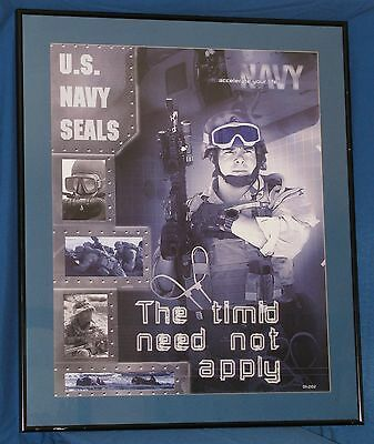 """NAVY SEALS Framed Recruiting Poster THE TIMID NEED NOT APPLY  29"""" x 35"""""""