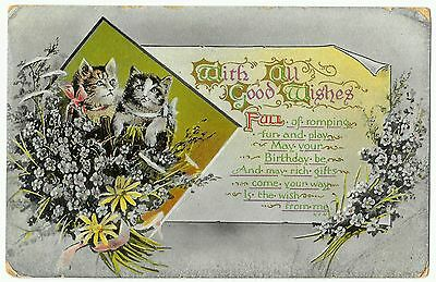 With all good wishes vintage birthday card 22/5/14 postmark from South? W & K