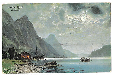 Norway On Foldenfjord Artist signed c1905, Unposted PPC, Undivided Back