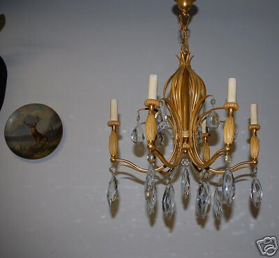 An Antique Heavy French Bronze / Crystal 6 Chandelier