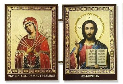 Christ the Teacher and Virgin of Seven Swords Russian Icon Diptych 3 1/2 Inch
