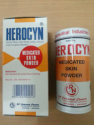Herocyn Medicated Body Powder 75g Prickly Heat Sunburn Insect Bites Reduce Itchy