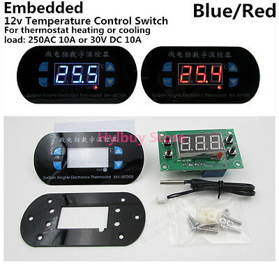 DC12V LED Display Heating/Cooling Temperature Controller Switch Meter Thermostat