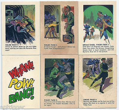 1966 Batman Weeties & Rice Krinkles FALSE FACE SET & Wham Pow Bang Card