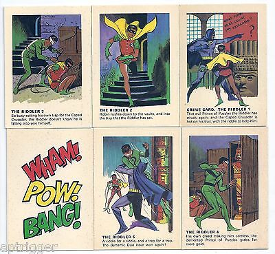 1966 Batman Weeties & Rice Krinkles THE RIDDLER SET & Wham Pow Bang Card