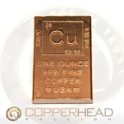 1 x 1oz Copper Bar Element Design Bullion Rounded Edge Ingot Cracker 5-8-10-20