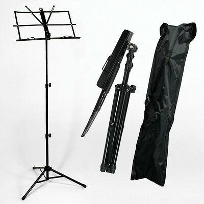 Metal Adjustable Sheet Music Stand Holder Folding Foldable with Carry Case BagLE