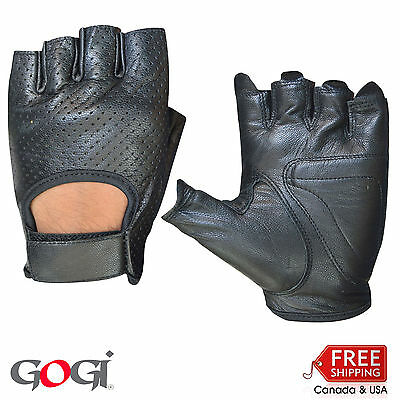 Half Finger Cycling Genuine Leather Gloves Fitness Training Gym Sports 555 Black