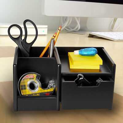 Rolodex Black Wireless Desktop Electronics Organizer Wood Accessory Drawer Phone