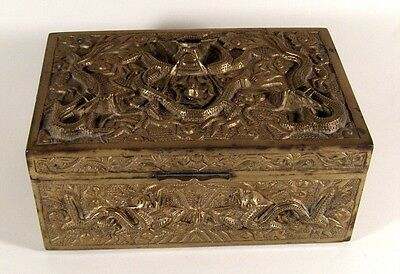 Antique Chinese Export Chilong Dragons Bronze Box 19thC
