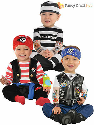 Baby Toddler Halloween Fancy Dress Prisoner Costume Boy  Infant Pirate Outfit