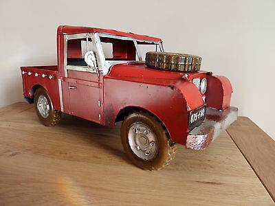 Landrover Pickup Series 1 / 2  In Red. Large Tin Plate Model, Great Gift.