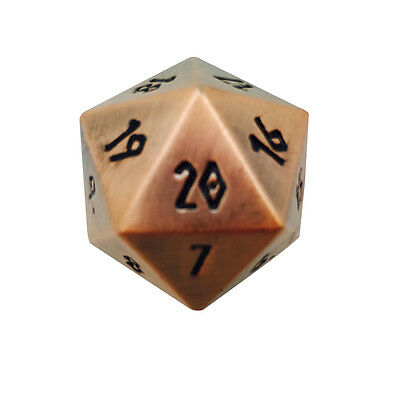 Gnomish Copper Countdown Polyhedral Metal Dice D20 25mm Norse Foundry