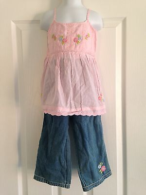 BNWT NEXT Pink Embroidered Strappy Flower Top & Cropped Jeans Set 4-5 Years