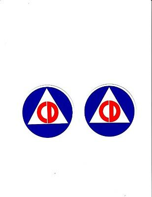 CIVIL DEFENSE STICKER S DECAL COLD WAR 2 TWO   12 INCH Stickers Decals