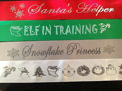 Adult Christmas Elf Costume Party Sash CHOOSE YOUR WORDING