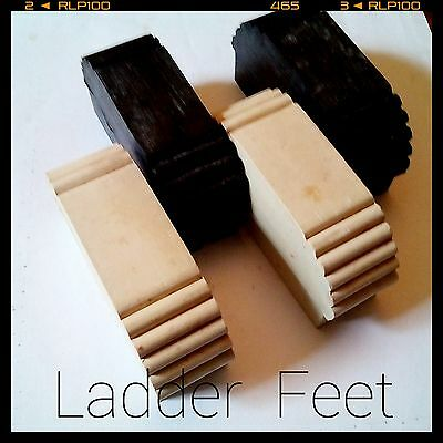 2 x solid rubber replacement ladder feet black & non-marking white Sydney seller