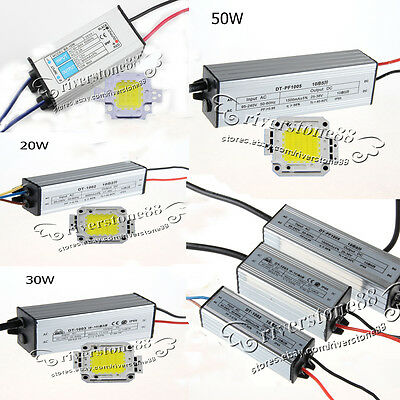 10W/20W/30W/50W/100W Warm/Cool White LED Chips Lamp IP65 Power LED Driver Supply