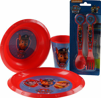 Paw Patrol 4 Piece Plastic Dinner Set - Plate, Bowl, Cup, And Cutlery