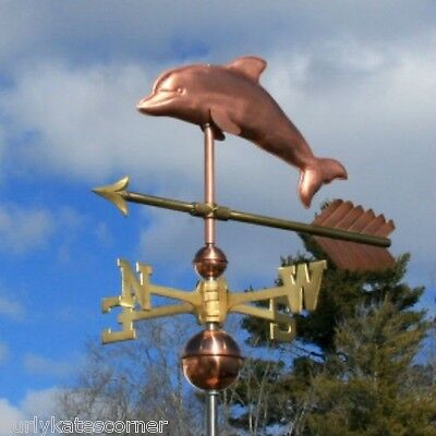"Copper   "" Dolphin "" Weathervane  Made In Usa #198"