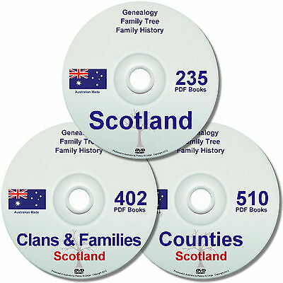 Family History Tree Genealogy Scotland Old Historic Books Clans Counties 7 DVDs