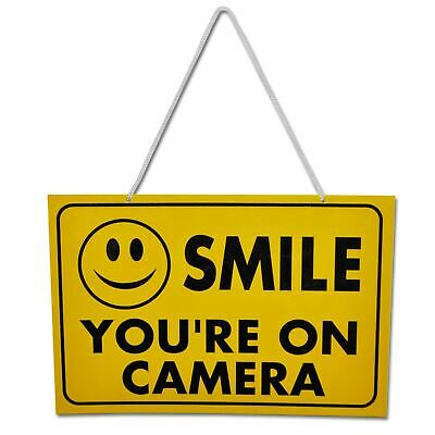 Smile You're On Camera - Yellow Hanging Shop Work Warning Sign