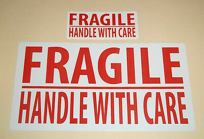 Bright Red 'FRAGILE - PLEASE HANDLE WITH CARE' Stickers / Sticky Labels