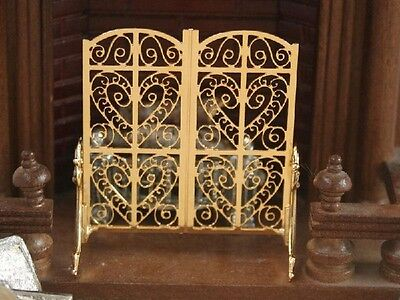 Ornate Fire Golden Screen, Doll House Miniature, Fireplace Accessory. 1.12 Scale