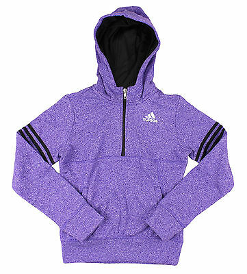 Adidas Youth Girls Fleece Quarter Zip Pullover Hoodie Sweatshirt - Purple
