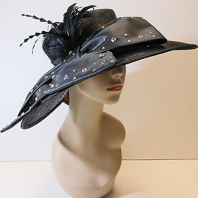 New Church Kentucky Derby Sinamay Wide Brim Dress Hat 2470 Black