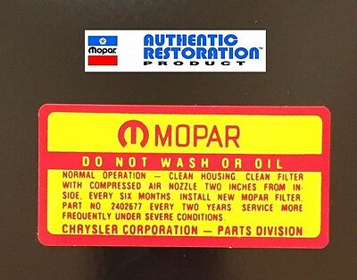 1964 65 66 67 68 1969 AIR CLEANER SERVICE DECAL MoPar Dodge Plymouth 1965 1966