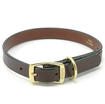 "Creased Leather Dog Collar with Brass Buckle, 18"" x 3/4"", Burgundy"