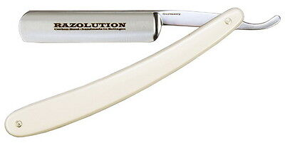 RAZOLUTION Solingen Rasiermesser 5/8 Carbonstahl Blond Celluloid made in Germany