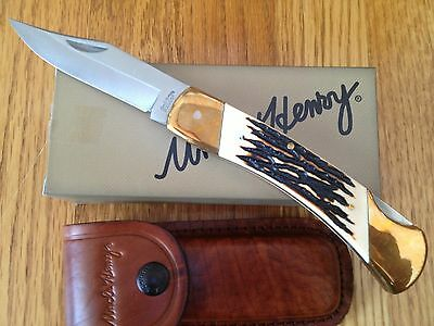 Schrade Uncle Henry Papa Bear Lb8 Knife Stag Delrin Handle W/ Leather Sheath