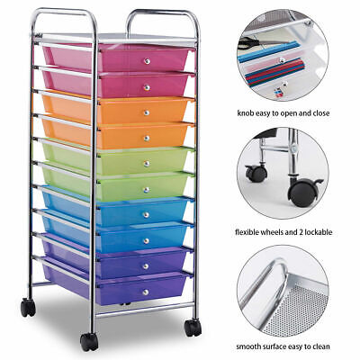 Rainbow 10 Drawer Rolling Storage Cart Scrapbook Home Office School  Organizer