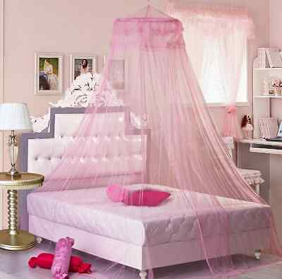 Mosquito Net Bed Canopy Netting Curtain Dome Fly Midges Insect Stopping Pink@UK