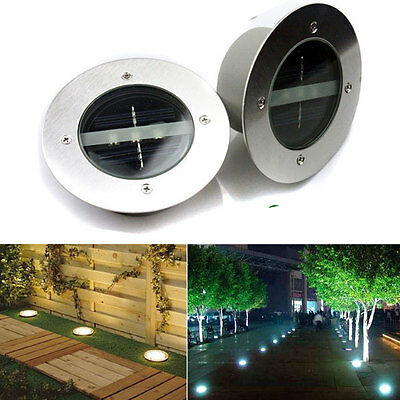 Solar Power LED lamp Stainless Steel In Ground Light Outdoor Garden Path Decking