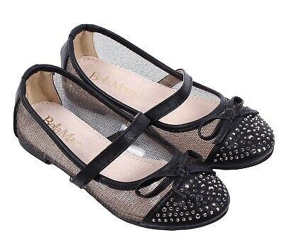 Black Cute Lace Kids Dress Bowknot Girls Youth Casual Flat Shoes Size 9 - 4