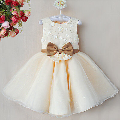 Flower Girls Wedding Pageant Formal Christening Pretty Dresses (Ivory & White)
