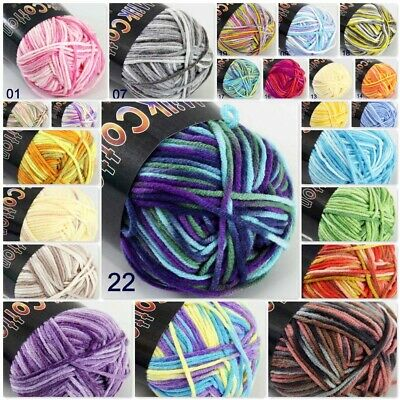 1Ball x50gr Cotton DK Baby Crochet Yarn Hand-dyed Wool Colorful Socks Knitting