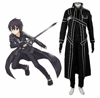 Sword Art Online Kirito Kazuto Kirigaya Cosplay Black Any Size Costume