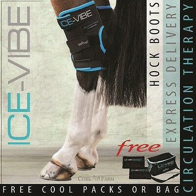 Horseware ICE VIBE HOCK Circulation Therapy Vibrating Cooling Boots / Wraps PAIR