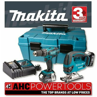 Makita DK1893 18V Li-Ion Combi Drill + Jigsaw Kit DHP456+BJV180 (2 x 3Ah Batts)