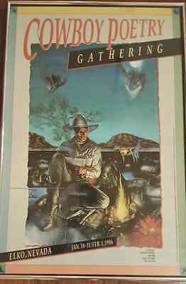 Cowboy Poetry Gathering Framed Poster Year Two 1986, Elko, Nevada