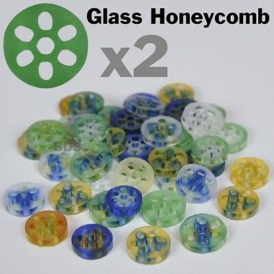 """2x Colored Glass Honeycomb Screens Pyrex Approx 3/8"""" 7-9mm x 2 mm New  Filter"""