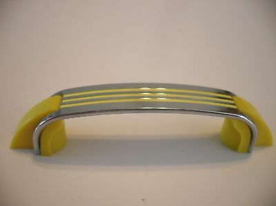 Vintage 40's CHROME YELLOW Lines Cabinet Door DRAWER PULL Plastic Trim Handle