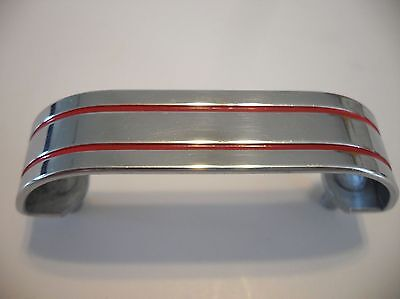 Vintage Chrome Drawer Pull Cabinet Door Handle w 2 RED Lines Grooves Art Deco