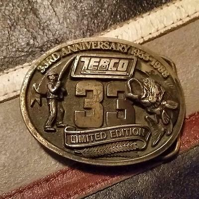 """RARE VINTAGE """"ZEBCO 33rd ANNIVERSARY 1955-1988 LIMITED EDITION BELT BUCKLE"""""""