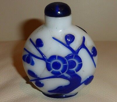 Old Chinese Blue Overlay Glass Snuff Bottle