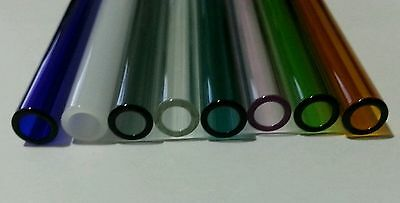 "16 Piece 8"" Borosilicate Tubing 12mm OD 2mm Thick Wall Colored Pyrex Tube COE 33"